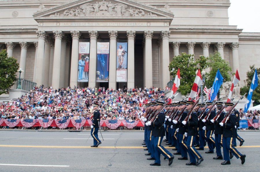 U.S. Army Soldiers march during the National Memorial Day Parade in Washington, D.C., May 27, 2013. (U.S. Army photo by Staff Sgt. Teddy Wade/ Released)