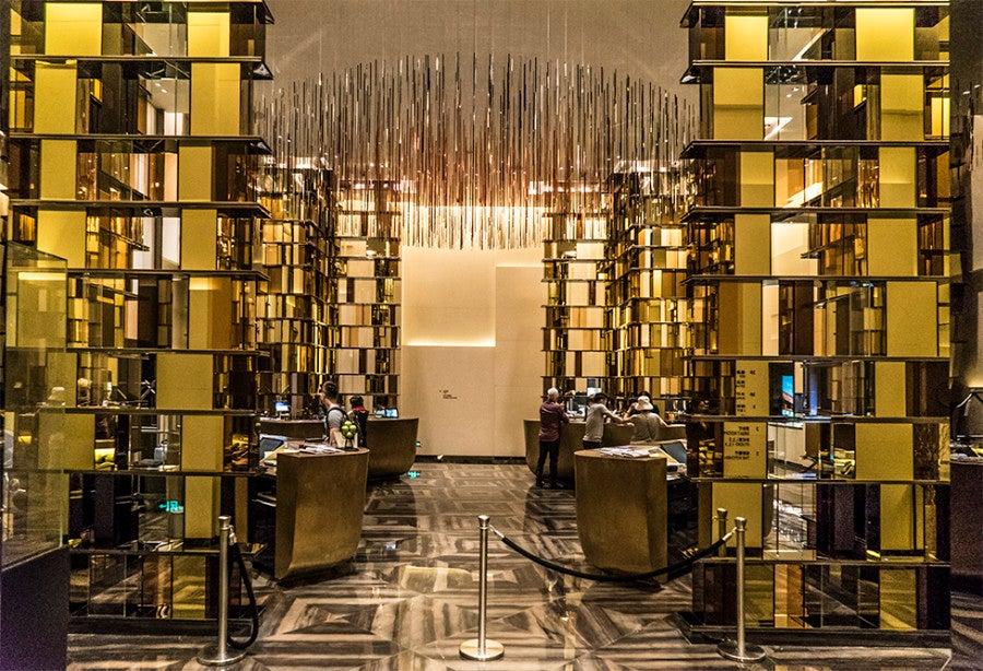 The elegant lobby of the W Guangzhou.