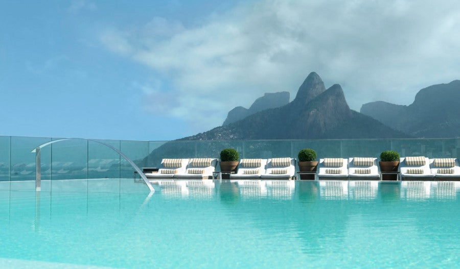 Enjoy some amazing views of Ipanema Beach and Sugarloaf mountain at the Fasano Pool