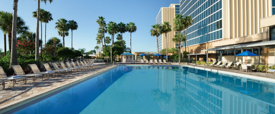 The sparkling pool at the DoubleTree Orlando Universal is a great spot to relax after a fun-filled day at the park!