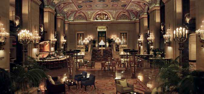 The ornate lobby of the Palmer House is a welcome greeting for guests!