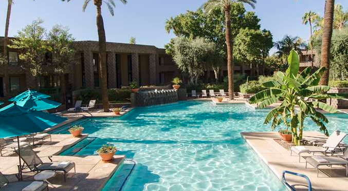 The pool at the DoubleTree in Scottsdale, AZ is just one way to stay busy on property