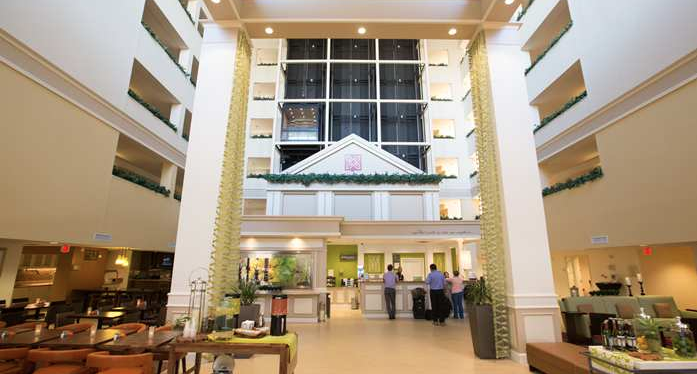 The vaulted lobby ceilings at the Hilton Garden Inn Dallas/Market Center set the property apart from others in the brand.