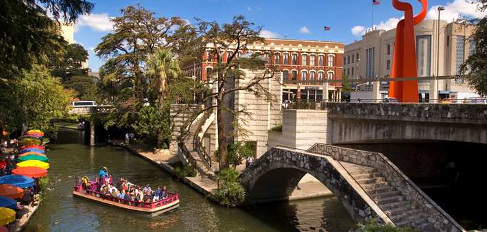 The Embassy Suites near downtown San Antonio is a perfect gateway to shop, dine, or cruise the Riverwalk