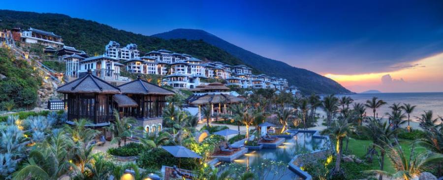 The hillside InterContinental Danang Sun Peninsula Resort in Vietnam is a great redemption spot