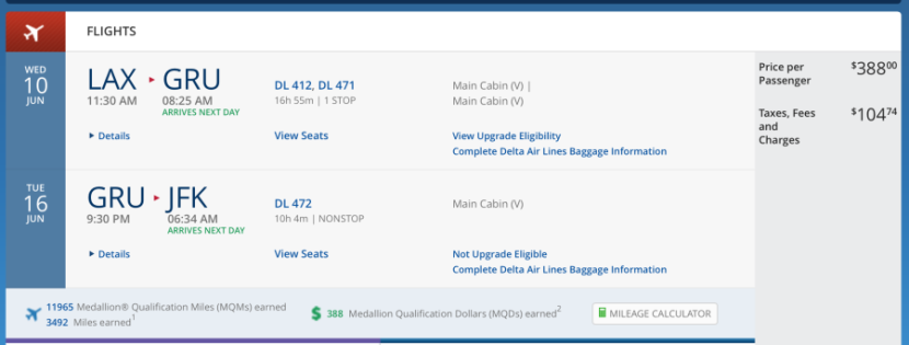 Los Angeles (LAX)-São Paulo for $492 on Delta.