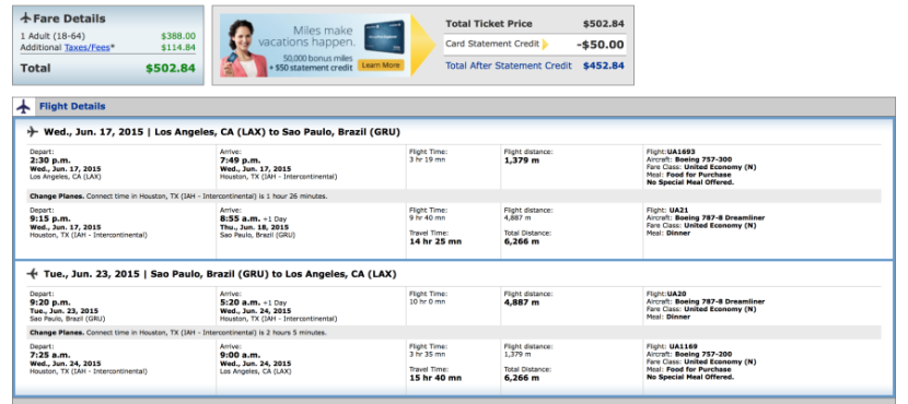 Los Angeles (LAX)-São Paulo for $503 on United.