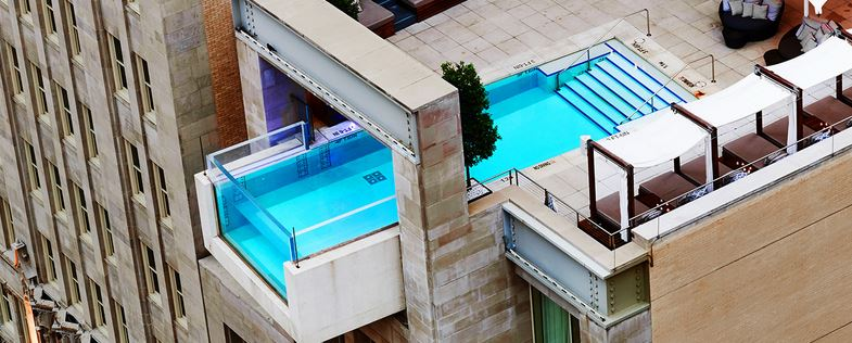 The unique pool at the Joule hotel in Dallas