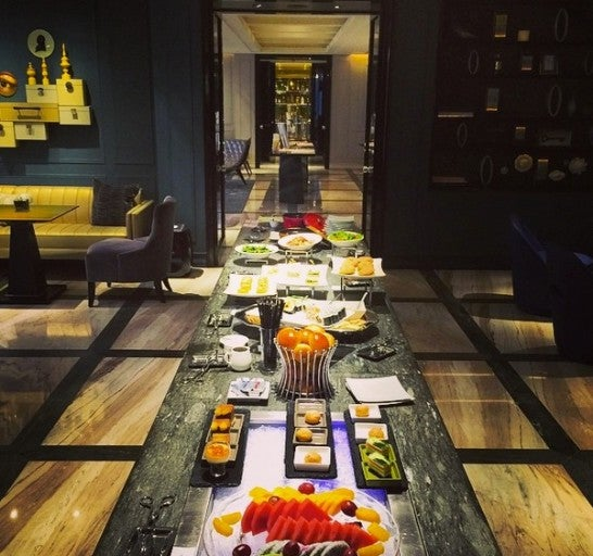 The W Lounge in Guangzhou, China. Way better than any other U.S. lounge spread!