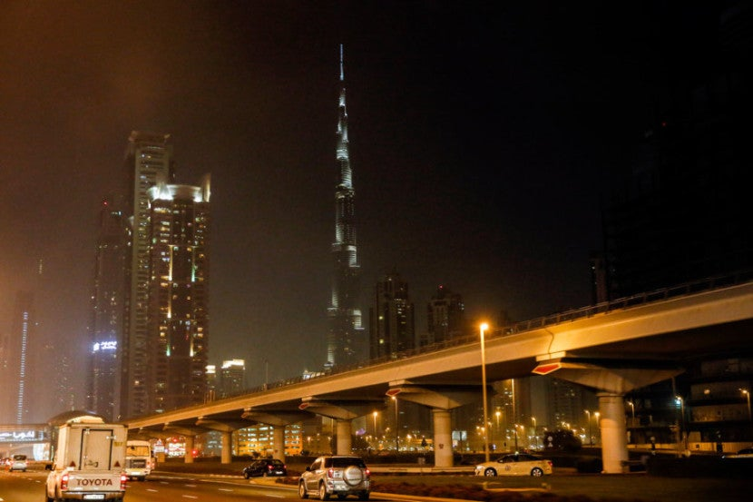 The Burj Khalifa is seen in the very early morning as I head back to the DXB airport to catch my British Airways flight to London on Saturday, January 25, 2014 in , United Arab Emirates. © 2014 Patrick T. Fallon - All Rights Reserved, No Use Without Permission