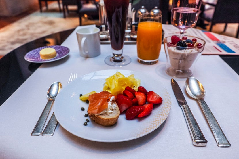 The smoked salmon and berries were among the breakfast highlights.