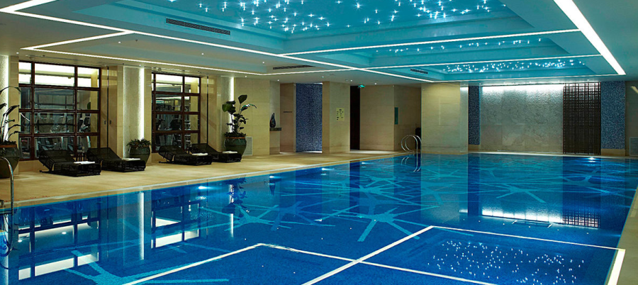 The sparkling indoor pool at the JW Marriott Shanghai Changfeng Park
