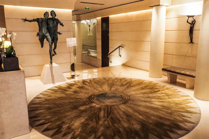 The unique art in the lobby of the Park Hyatt Paris-Vendôme.