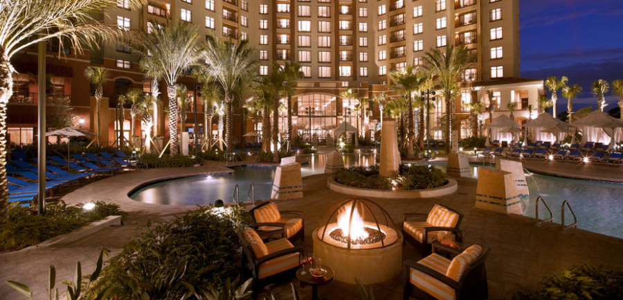 The Pool Area And Fire Pit At Wyndham Grand Orlando Resort Bonnet Creek