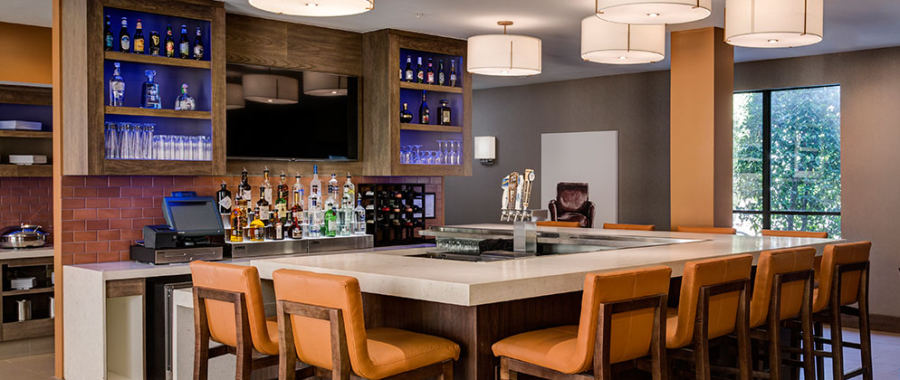 The H Bar at the Hyatt House Dallas Uptown is a great spot to socialize or unwind at the end of the day.