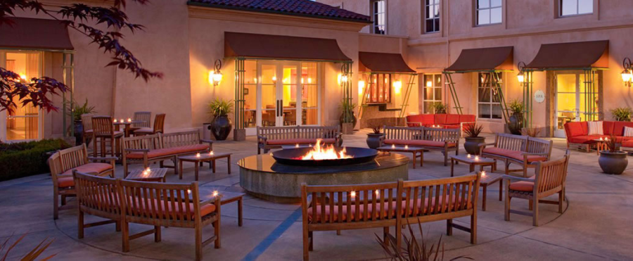 The inviting patio and fire pit at the Hyatt Vineyard Hotel & Spa in Northern California.