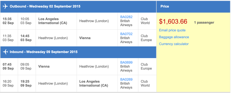 Los Angeles (LAX) to Vienna (VIE) in business class on British Airways for $1,604