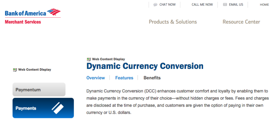 Bank Of America Is One That Touts The Benefits Dynamic Currency Conversion To Its