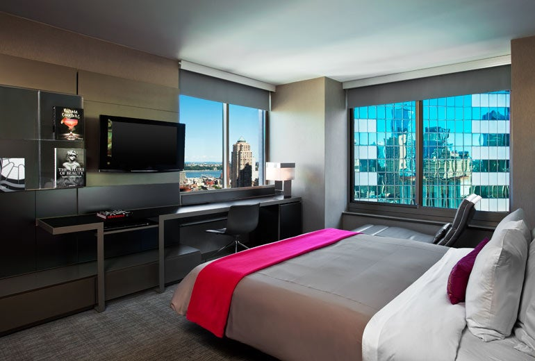 SPG Gold status gets you room upgrades, perhaps one with a view like at the W New York Times Square