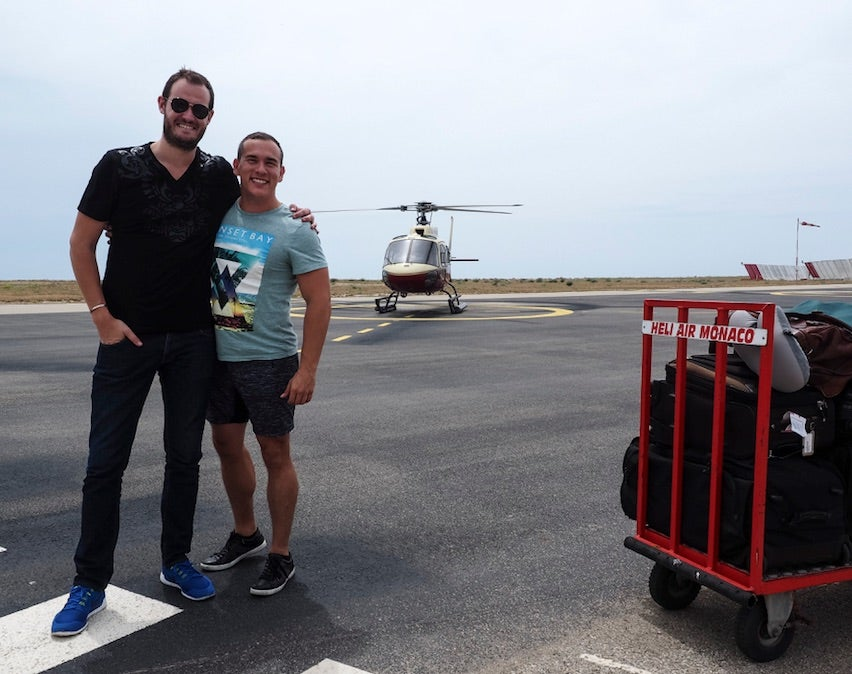 Just me, my buddy Jaime, our luggage, and our awaiting chariot!
