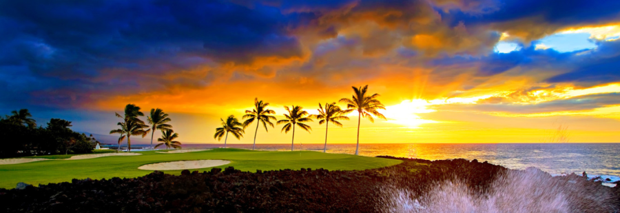 You can enjoy spectacular sunsets at the Hilton Waikoloa Village on the big island of Hawaii.