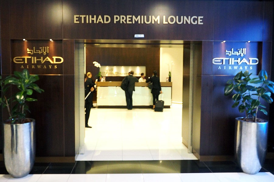 Etihad's first-class lounge entrance.