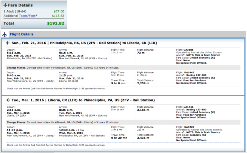 Philadelphia (Amtrak station) to Liberia, Costa Rica for $193 in February on United.