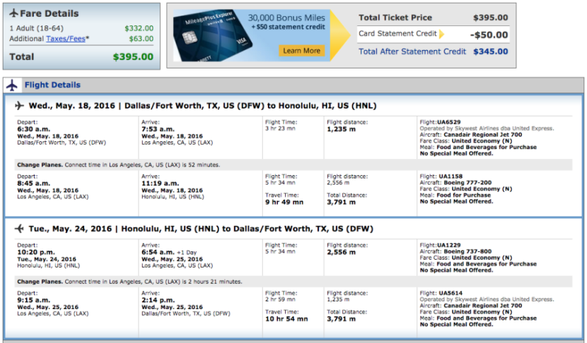 Dallas to Honolulu for $395 in May 2016 on United.