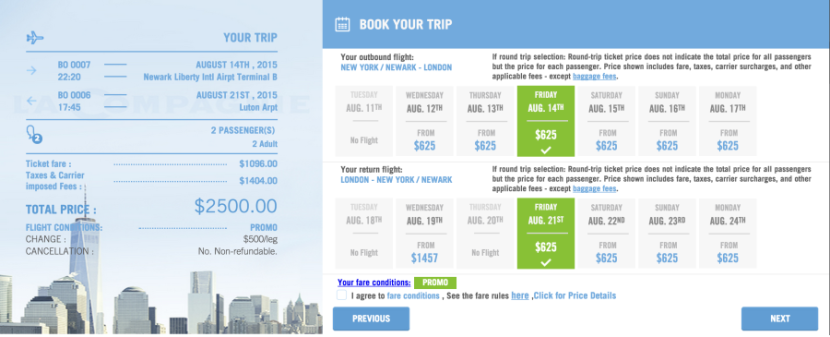 Promo fares are back! Book business-class for $625 each way per passenger.