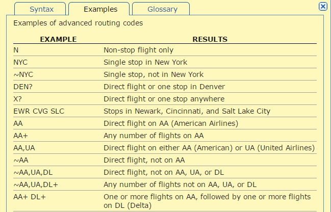 find an ideal flight with ita matrix advanced routing codes