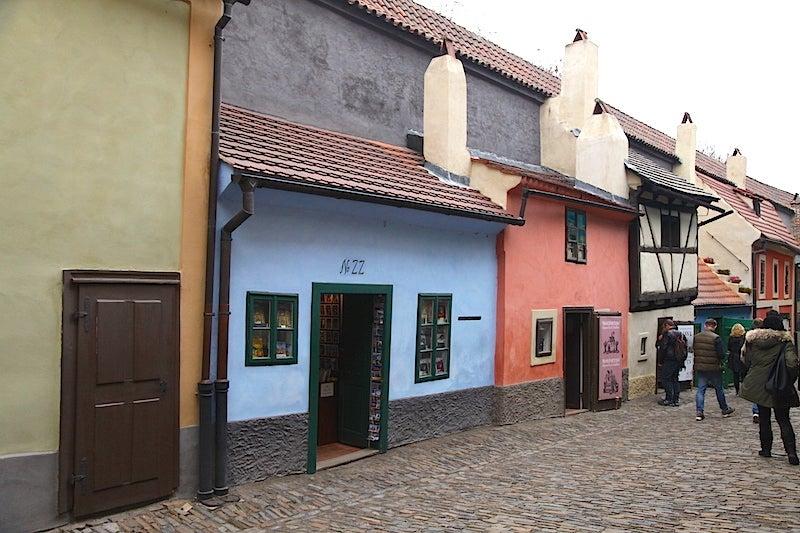 On Golden Lane, Franz Kafka once worked in little blue house No. 22.
