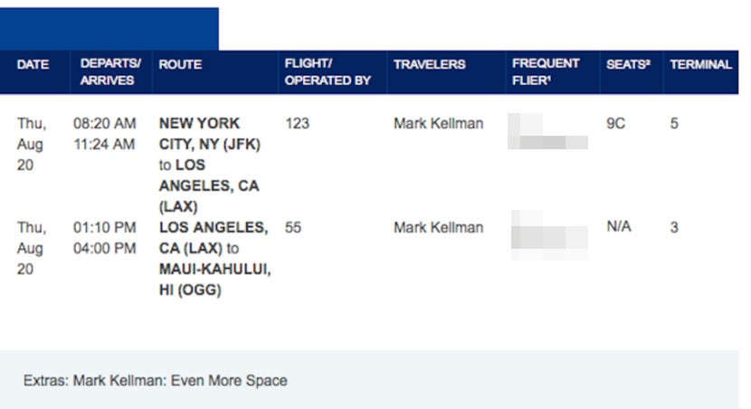 L'itinerario ho prenotato per volare da JFK a Maui su una combinazione di JetBlue e Hawaiian Airlines.