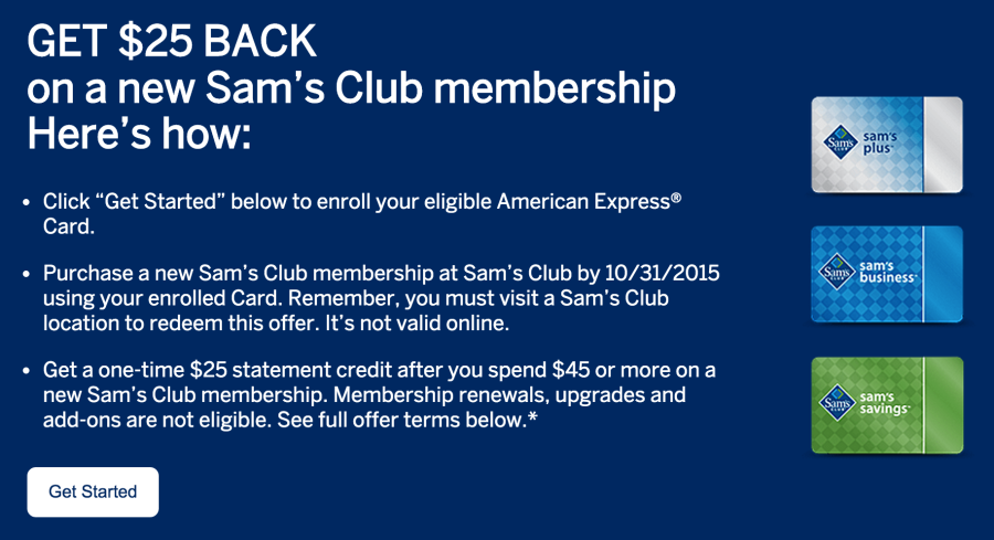 Sams club now accepts american express get 25 back on a new sam colourmoves