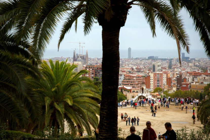 A sneak peek of Park Güell with Gaudí's Sagrada Família in the distance.