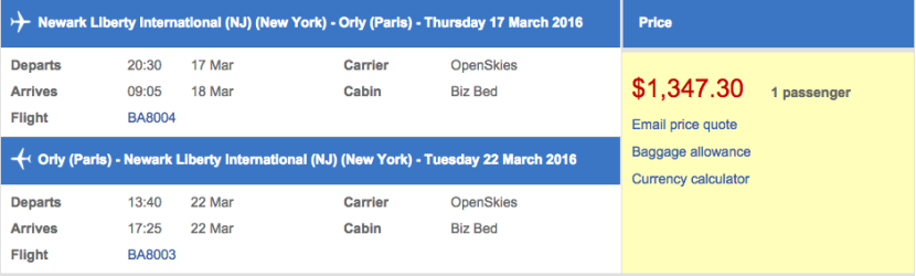Newark (EWR) to Paris (ORY) in business class on OpenSkies for $1,347.