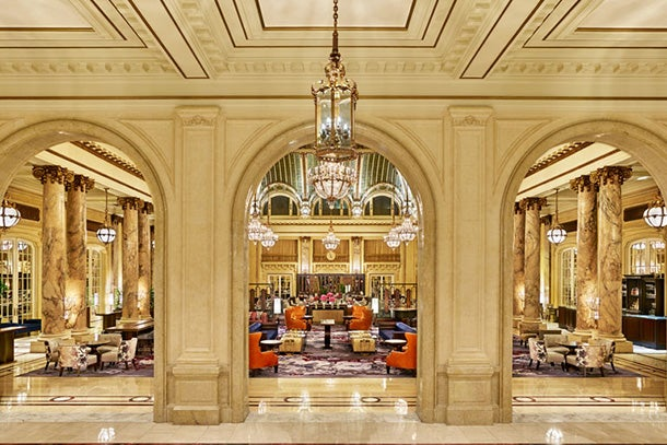 Old-world charm in the Palace Hotel lobby.