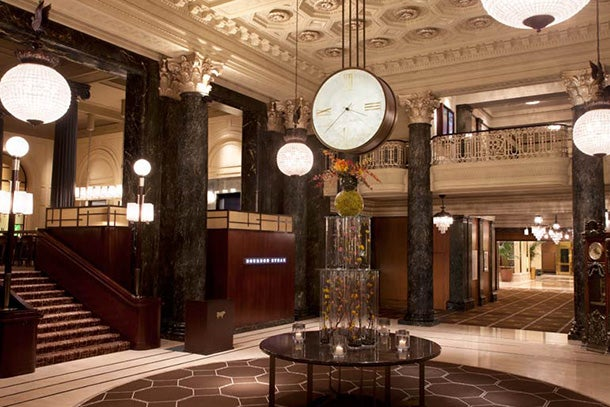 The lobby at the Westin St. Francis.