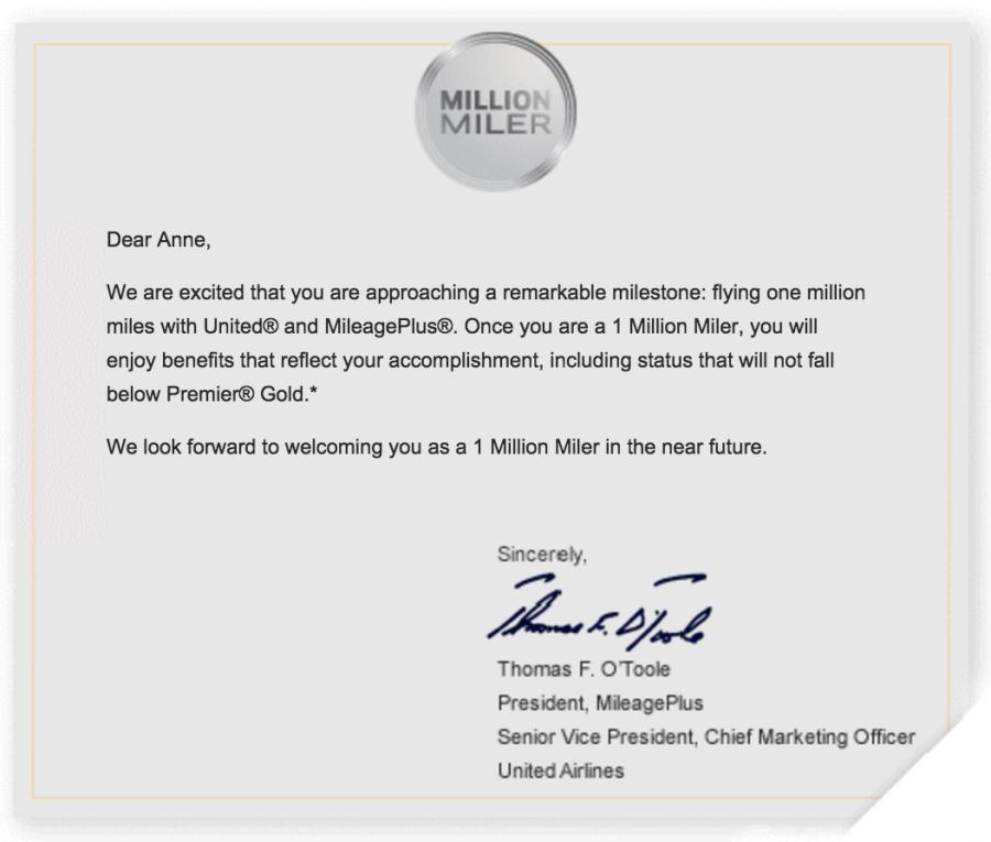 United Has No Plans to Change Million Miler Status