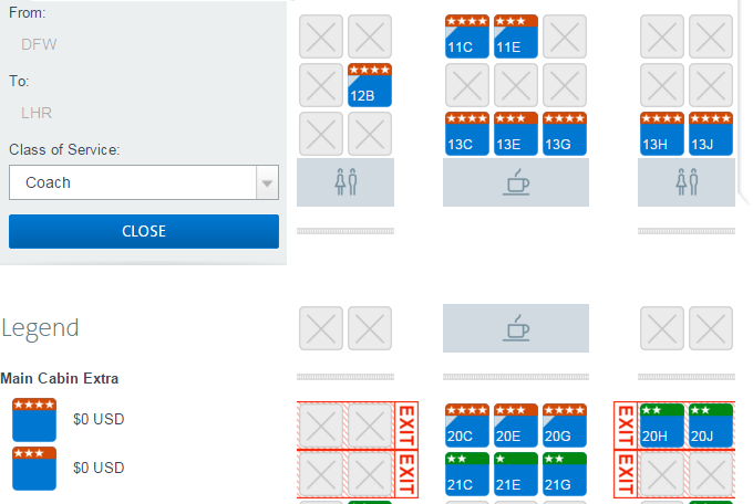 AA Platinum and Executive Platinum never have to pay to select MCE seats.