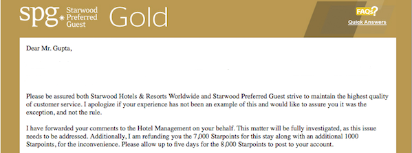 The Spg Gold Rep Graciously Refunded 7 000 Starpoints I Paid Plus Some