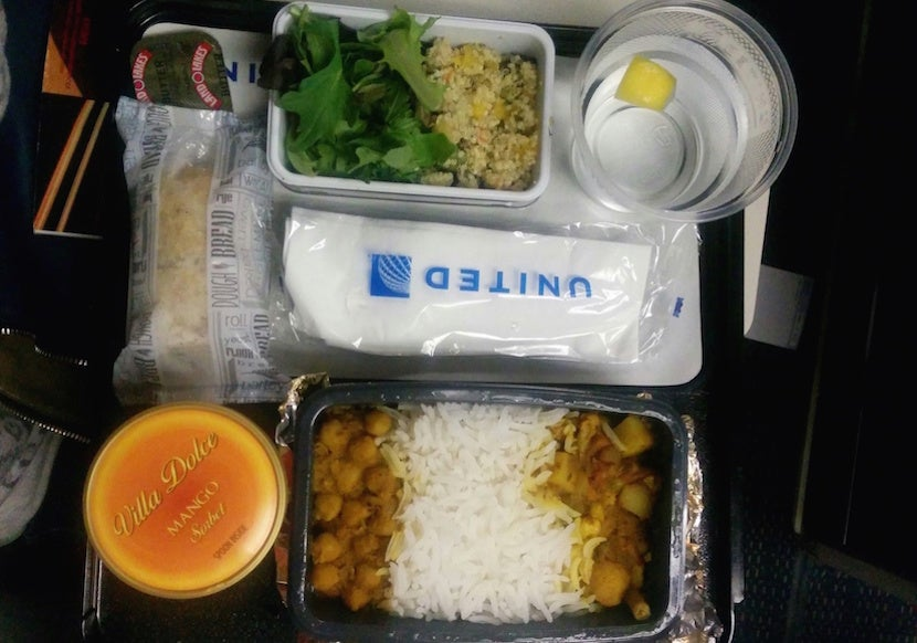 A Hindu Vegetarian Dinner On United Airlines Flight From Chicago To London In June 2017