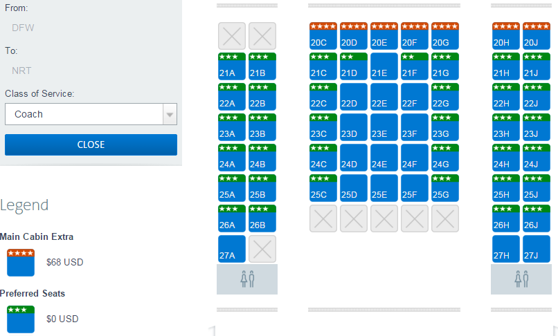 Many seats at the front of this AA 777-200 are Preferred Seats (seat map as viewed by an AA Gold member)