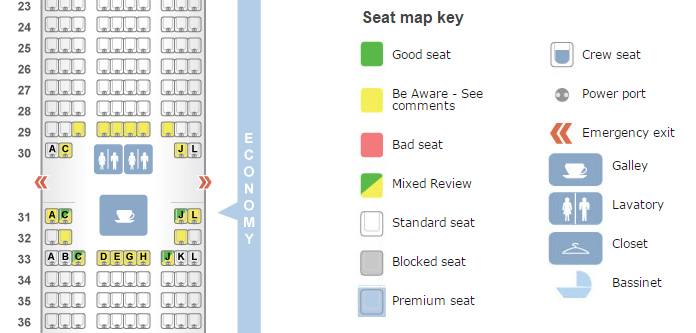 make sure to use seatguru to avoid bad seats on your flight