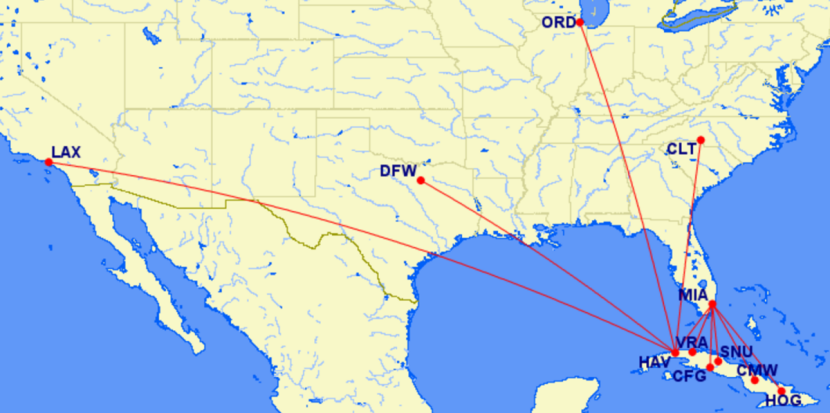 Airlines Announce Nonstop Flights From The US To Cuba - Us airways direct flights map