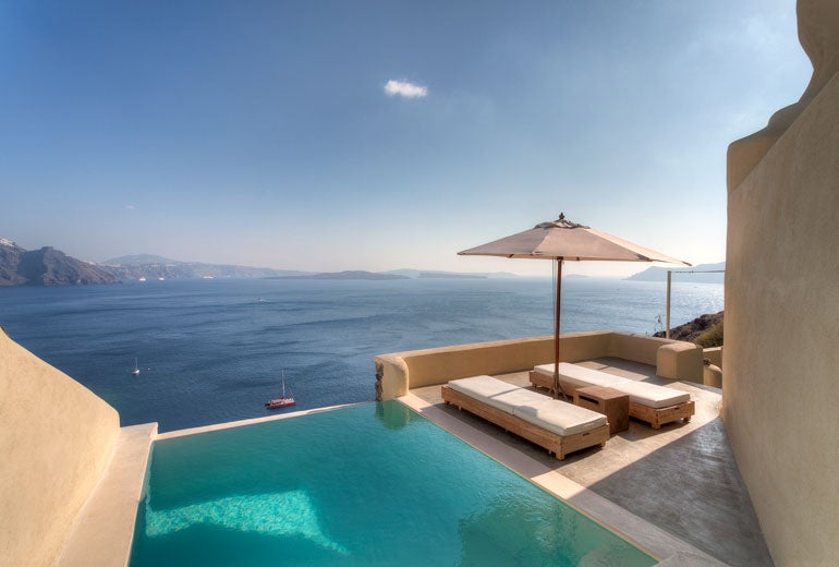 A Private Plunge Pool At The Mystique Luxury Collection Hotel In Santorini Greece