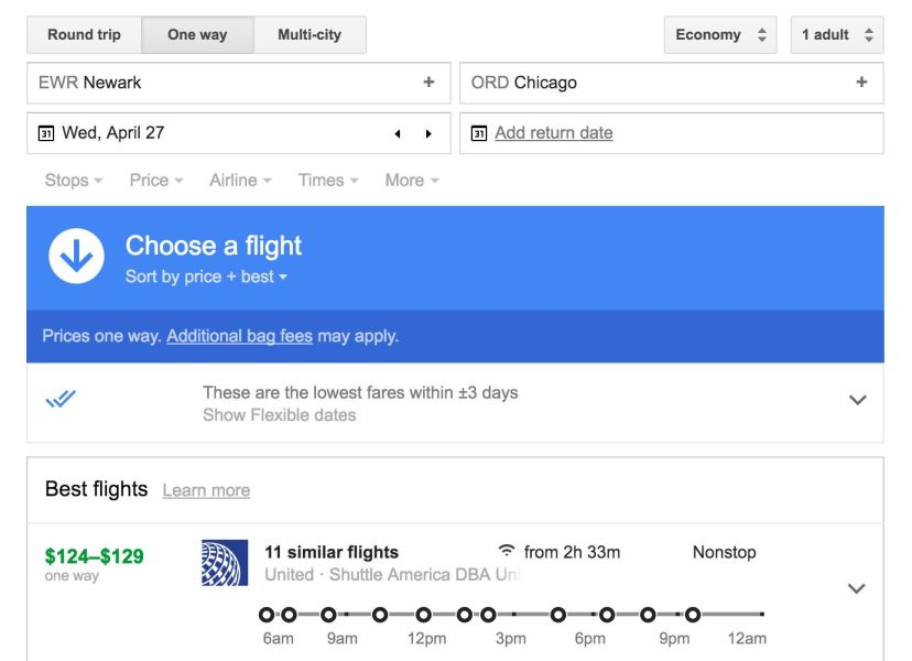 Using Google Flights 'tracked prices' to find cheap flights.