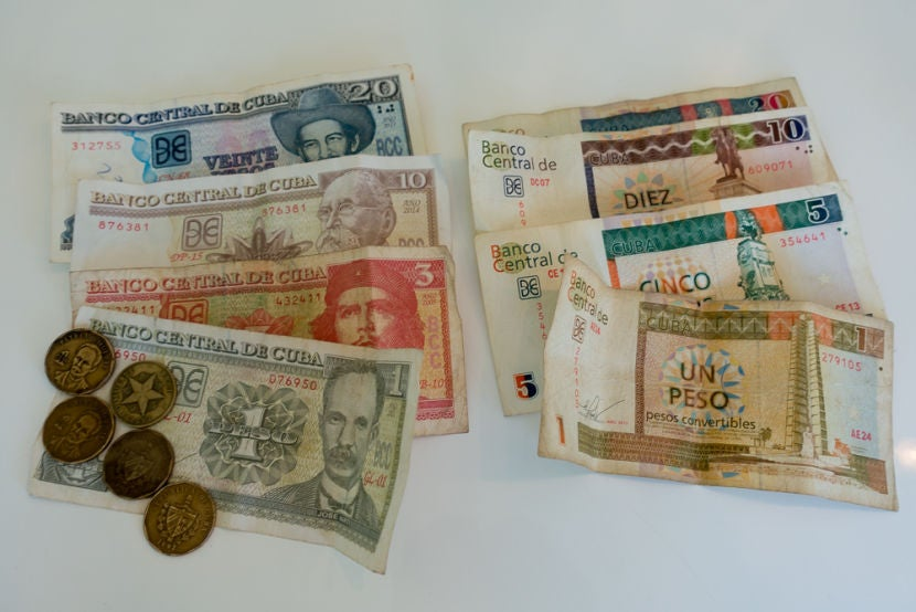 On The Left Cuban Pesos And Right Cuc Covertible