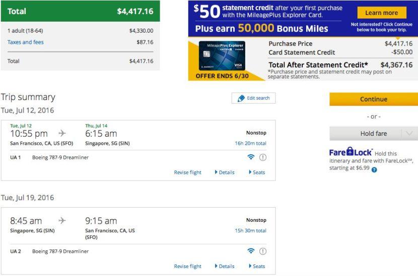 Crediting United Flights to Singapore KrisFlyer