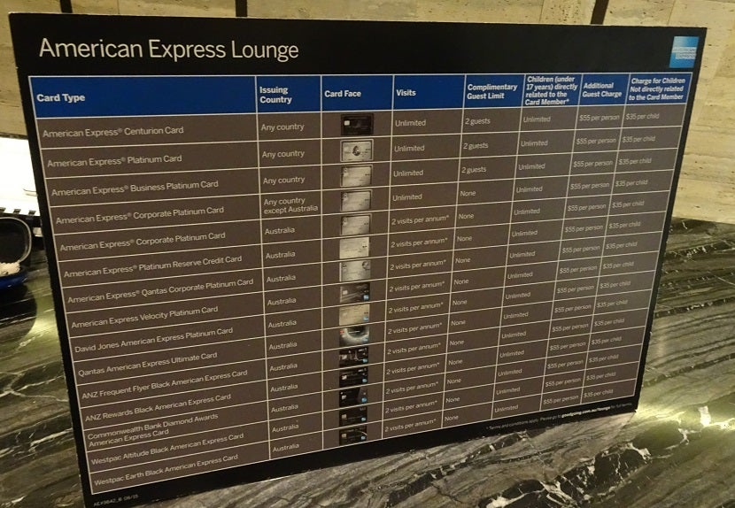 Review the american express lounge at sydney airport which amex card will let you into the lounge see this chart colourmoves Images