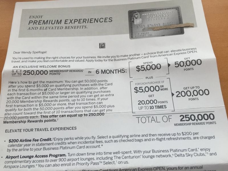 Amex Offering Targeted Promotion for 250K Points